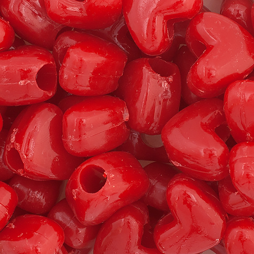 PONYBEAD HEART 10x12mm OPAQUE RED image