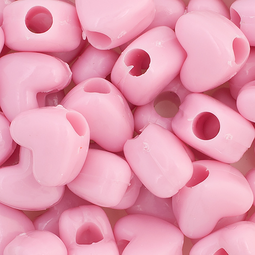 PONYBEAD HEART 10x12mm OPAQUE PINK image