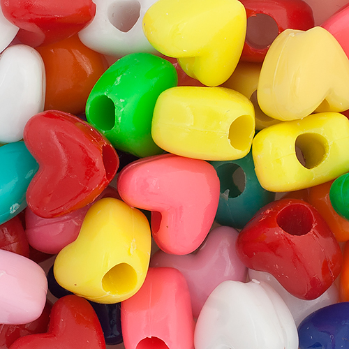 PONYBEAD HEART 10x12mm OPAQUE MULTI ASSORTED image