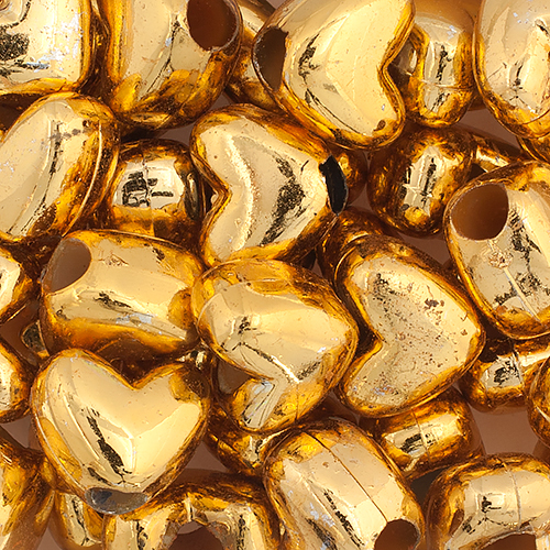 PONYBEAD HEART 12x9mm OPAQUE GOLD image