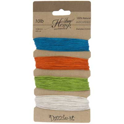 Hemp 100% Natural 0.5mm 10lb 4x41.9ft Bright Colours image