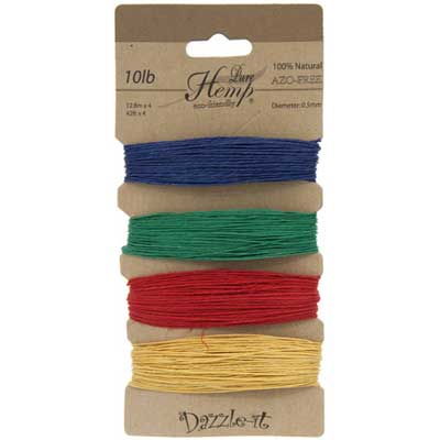 Hemp 100% Natural 0.5mm 10lb 4x41.9ft Primary Colours image
