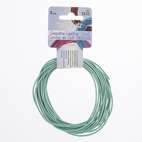 Dazzle-It Genuine Leather Cord 1.5mm Round Aqua 5yds image