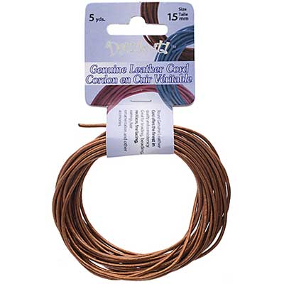 Dazzle-It Genuine Leather Cord 1.5mm Round Metallic Copper 5yds image