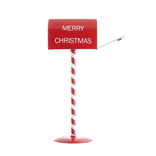 Metal Christmas Mailbox on Stand 5x5x14in Red & White image
