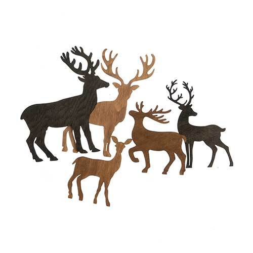 Christmas Decor - Reindeer Set of 5 3in - 5in image