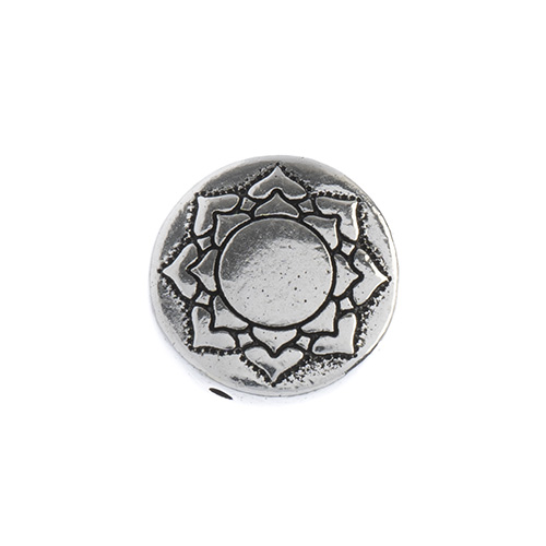 T.C. - Puffed Bead 14mm Lotus Antique Silver image
