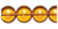 GLASS BEAD FLAT 14/6MM TOPAZ STRUNG RD.PENNY BEADS image