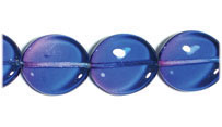 GLASS BEAD FLAT 15/14MM STRUNG BLUE/LILAC   WAVY OVAL image