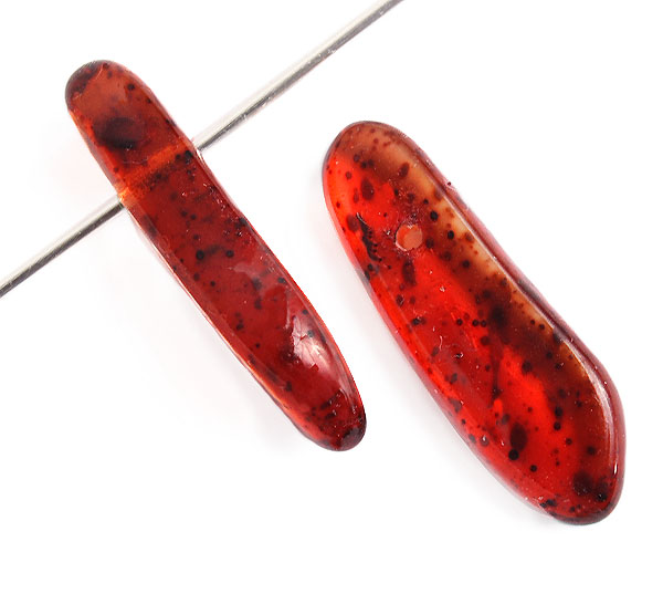 GLASS BEAD 4.5x20mm DROP STRG. TR.LT.RED MARBLE COATED image