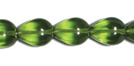 GLASS BEAD GROOVED DROP 13x11 OLIVINE STRUNG image