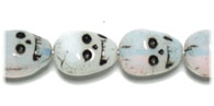 Glass Skulls 13mm White Opal w/Black Paint Strung image