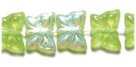 GLASS BEAD BUTTERFLY 15x12MM OLIVINE AB - STRUNG TOP HOLE image