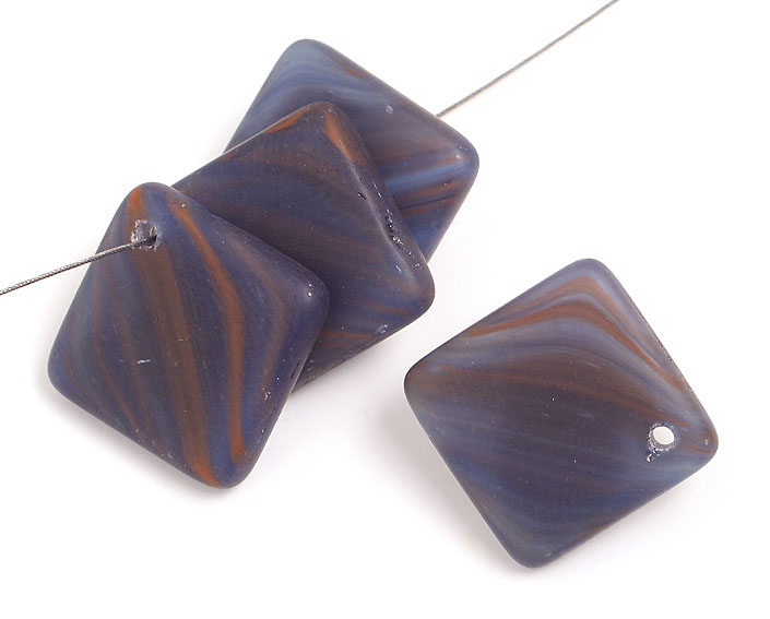 GLASS PRESSED BEADS DIAMOND 18MM DR.BLUE MARBLE image