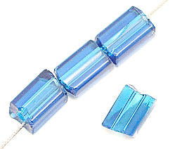 GLASS PRESSED BEADS 5MM TUBE TRANSPARENT CAPRI BLUE image