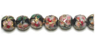 CLOISONNE BEADS 8MM ROUND BLACK STRUNG image