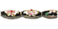 CLOISONNE BEADS 18MM OVAL BLACK STRUNG image