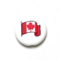 "BEAD DISCS 19mm ""CANADA"" ON 1 SIDE AND FLAG ON OTHER SIDE image"