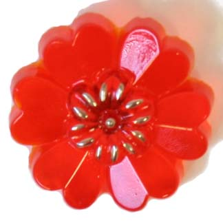 GLASS 22mm FLOWER W/HEART SHAPE PETALS ORANGE W/SHANK image