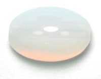GLASS BEAD OVAL 14X7MM WHITE OPAL STRUNG image