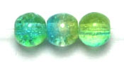 GLASS BEAD CRACKED 4MM 3-TONE CRY/GREEN/YELLOW STRUNG image