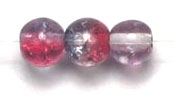 GLASS BEAD CRACKED 4MM 3-TONE CRY/GREY/MAUVE STRUNG image