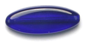 GLASS BEAD FLAT 20x8mm COBALT BLUE STRUNG OVAL SHAPE image