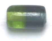 GLASS BEADS 12x7mm TUBE TWO TONE OLIVINE/MONTANA image