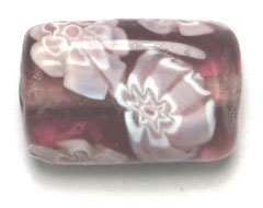 "GLASS BEADS 17x11mm RECTANGLE FLAT AMETH.W/FLOWER STRG.1X16"" image"