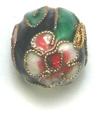 CLOISONNE BEADS 14MM ROUND BLACK STRUNG image