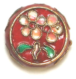 CLOISONNE BEADS 19MM DISC RED STRUNG image