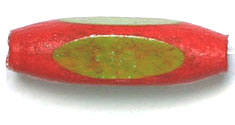 WOOD BEADS 2-TONE OVAL 6x18mm DK.RED/LT.GREEN LACQUERED image